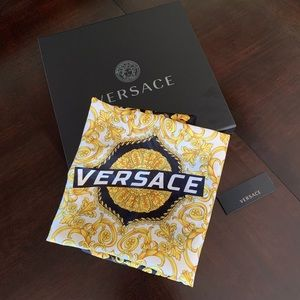 Versace Gold Hibiscus Logo Print Scarf